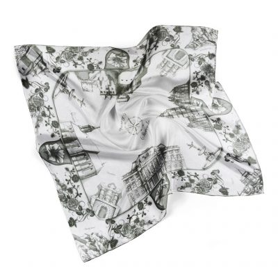 Hodvábna šatka SLOVENSKO BLACK & WHITE, 90 x 90cm, Vyrobené na Slovensku